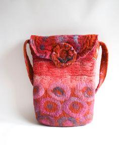 Felt Purse Shoulder Bag Shibori Pink Purple Rust ★by FrouFrouFelt