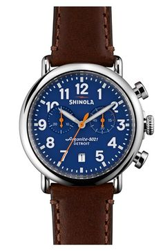 Shinola 'The Runwell Chrono' Leather Strap Watch, 41mm available at #Nordstrom I think this will be my next watch.
