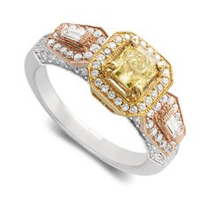 HJ Namdar 1-1/4 ctw Natural Yellow and White Diamond Ring in 18k Tri-Color Gold