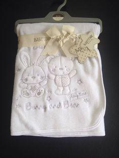 Baby Blanket Fleece Wrap Cream Luxury Girl Boy Soft Fluffy Rabbit & Bear 90x75cm