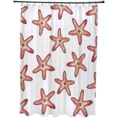 Simply Daisy 71 inch x 74 inch Soft Starfish Geometric Print Shower Curtain, Orange