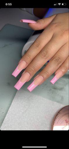 Pink Tip Nails, Acrylic Nails Coffin Pink, French Tip Acrylic Nails, Long French Tip Nails, Long Square Nails, Long Square Acrylic Nails, Jolie Nail Art, Glow Nails, Acylic Nails