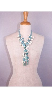 #vanyta #necklace #glam #handmade #jewel. Graceful necklace with numerous strings of small light #blue #crystal spheres together with pendants in #turquoise and #white turquoise. #59,00