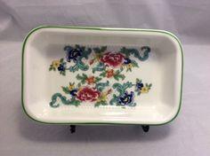 Royal Doulton Floradora Green Floral 6.5 x 4 Small Dish Plate Hors D'oeuvres #RoyalDoulton