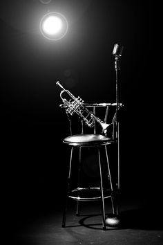 """Waiting for a player"" by Warren Millar. ♫♪ Musical ♪♫  instrument on the chair~ Black and white image of trumpet stool and microphone"