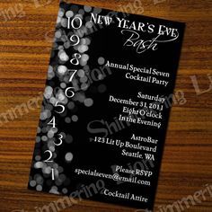 Any Color Custom New Years Eve Party Printable Invite Invitation Winter Black White Lights Countdown