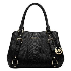 Michael Kors Python Bag. Michael Kors Black Python Embossed Leather East West EW Bedford Satchel Bag.  #michael #kors #python #bag #michaelkors #korspython #pythonbag