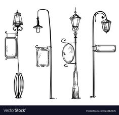 Street lamps with information signs Royalty Free Vector , Dentist Clipart, Free Vector Images, Vector Free, Draw Dividers, Crystal Drawing, Drip Art, World Street, New Years Decorations, Lettering Tutorial