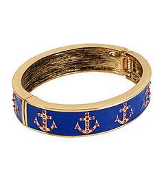 Betsey Johnson Anchor Hinged Bangle Bracelet #Dillards