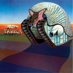 """ELP: """"Tarkus"""" the second CD by this stunning trio was another classic rock album of the time featuring three of the best British musicians of the era: Keith Emerson, Carl Palmer, and Greg Lake. If you love progressive rock, you need to hear this CD now! Greatest Album Covers, Rock Album Covers, Classic Album Covers, Music Album Covers, Music Albums, Atlantic Records, Lp Cover, Cover Art, Lps"""