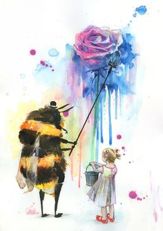 Lora Zombie art print - bumble bee painting a rose with a little girl