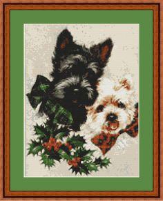 Scottish Terrier and Westie Puppies, Scottie Puppy Cross Stitch Pattern (7025) PDF format for easy printing https://www.etsy.com/shop/InstantCrossStitch