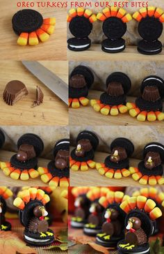 Turkey Oreos from Our Best Bites  #Thanksgiving #TurkeyTreats Can't wait until Thanksgiving to do this with my kids in Children's Church!!!