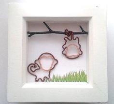 Playful Monkeys Shadowbox Frame Art Shadow by DragonflyHJewellery