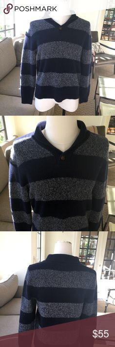 Shipley & Halmos 100% Wool Shetland Pullover Med Shipley Halmos 100% Wool Shetland Pullover Medium. Navy and heathered navy Stripes. Great condition. Washing and material info in pictures. Shipley & Halmos Sweaters