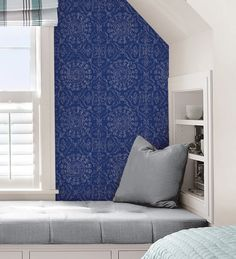 Designed atop a stunning cobalt blue base, this stylish decorating solution will immediately transform your space! #windowfilmworld #windowfilm #walldecor #staticcling #homedecor