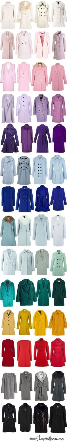 selection of winter coats for women in a variety of different colours