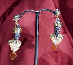 Orecchini moretti veneziani in argento dorato e topazi