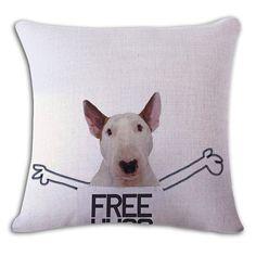 Free Hug Bull Terrier Funny Pillow Case