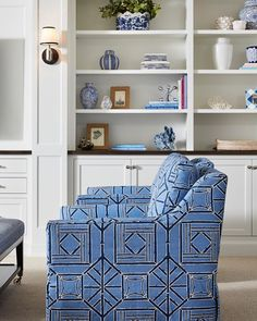 """Grace Hill on Instagram: """"It's so exciting when you find just the perfect, """"fall in love"""" fabric to make that comfy swivel chair both fabulous and functional. This…"""" Blue Decor, Room Design, Living Room Design Inspiration, Swivel Chair, Cozy Living Spaces, Decor Inspiration, Home Decor, Built In Seating, Living Room Designs"""