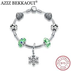 Solid 925 Sterling Silver Dangling Green /& Blue CZ Flower Charm Bead 323 for European Snake Chain Bracelets
