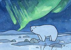 Polar bear and northern lights art print, arctic nursery, cute animal illustration Design Poster, Art Design, Cute Animal Illustration, Illustration Art, Polar Bear Drawing, Christmas Lights Wallpaper, Winter Art Projects, Art Watercolor, Guache
