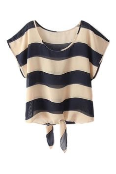 ROMWE | ROMWE Self-tied Striped Shirt Sleeved T-shirt, The Latest Street Fashion
