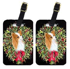 Christmas Wreath Papillon Luggage Tags Pair of 2
