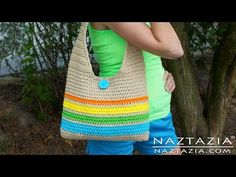 DIY Learn How to Make & Crochet Easy Beginner Tote Bag Handbag Purse Summer Pattern (Adjust the length of strap and/or the size of bag as you prefer... Deb)