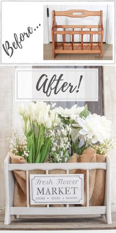 Thrifted Magazine Holder To Flower Market Basket - Thrift Store Upcycle Furniture Projects, Furniture Makeover, Diy Furniture, Modern Furniture, Antique Furniture, Furniture Removal, Furniture Stores, Diy Projects, Furniture Refinishing