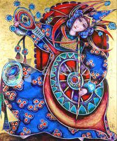 The Cellist, painting by Toller Cranston, San Miguel de Allende Goddess Art, Naive Art, Canadian Artists, Weird And Wonderful, Heart Art, Modern Art, Contemporary, Folk Art, San Miguel De Allende