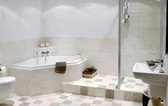 Deze badkamer van Grando Keukens; voor rechterzijde badkamer? Bouw je het niet 'dicht' maar wel bad en douche. Question: hoe veel ruimte in bad mis je door te kiezen voor een hoek?
