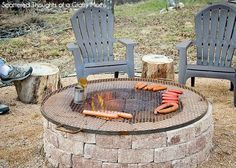 Simple DIY Outdoor Fire Pit - love the custom grate