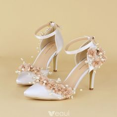 Chic / Beautiful White Wedding Shoes 2019 Appliques Ankle Strap Pearl 6 cm Stiletto Heels Pointed To Diy Wedding Shoes, Best Bridal Shoes, Converse Wedding Shoes, Wedding High Heels, Silver Wedding Shoes, Wedge Wedding Shoes, Designer Wedding Shoes, Wedding Boots, Bride Shoes