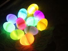 I love this idea for an Easter egg hunt. Take glow stick bracelets roll them up into a plastic easter egg. Hide them and send kids into discovery. You could end the Easter egg hunt in a game of Tro...