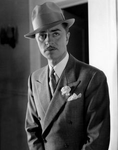"""William Powell, 1933. (1892-1984). One of the most popular and longest-enduring leading men in Hollywood, his stardom lasting four decades, from the 1920s through the 1950s, and even beyond his retirement in 1955. He was paired with Myrna Loy in 14 films, including the popular """"Thin Man"""" series based on the novels of Dashiell Hammett. (Source: IMBd and Wikipedia)"""
