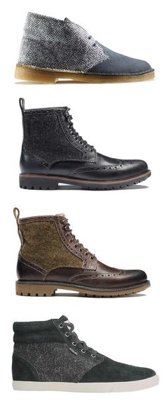 Clarks x Harris Tweed Capsule Collection - love the black and brown tweeds in the middle