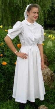 What color are amish wedding dresses