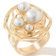 Noa Zuman Jewelry Designs Yellow Gold GP Sterling Cultured Pearl Swirl Ring 10 #NoaZuman #Swirl #hsn