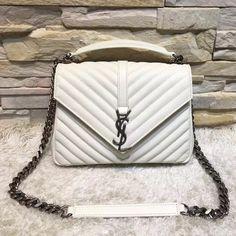 c60ebe3aa Y 392737 Classic Medium Monogram College Bag In Natural Lambskin White 2016