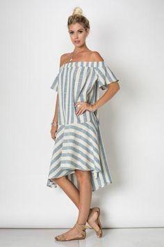 Off shoulder maxi stripe dress - Arcade Attire - 2