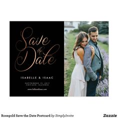 Rosegold Save the Date Postcard
