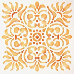 Sicilia Tile Stencil-Royal Design Studio Possible update for old fashioned yellow tile in bathroom.