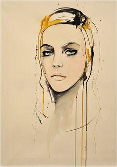 Golden Portrait Fashion Malerei Mixed von LeighViner auf Etsy