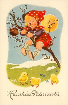 Pääsiäiskortti 1940-luvulta. Helsingin kaupunginmuseon kokoelmat. Old Cards, Easter Traditions, Vintage Easter, Vintage Cards, Art Pictures, Tweety, Postcards, Floral, Fictional Characters