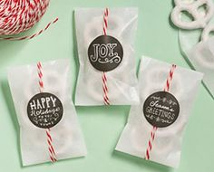 Christmas themed stickers on favor bags for treats Christmas Themes, Merry Christmas, Paper Source, Favor Bags, Custom Stickers, Peppermint, Joy, Treats, Crafty