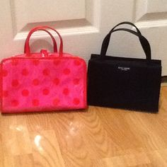 Kate spade small make up case & small black bag Very good used condition. Please look at pictures for condition. Make up case and small black bag as pictured only. Please tag for any reason. Thank you. kate spade Bags