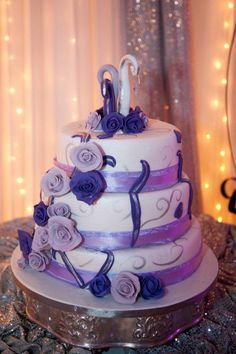 Beautiful White and Lilac wedding cake by Belle's Patisserie.