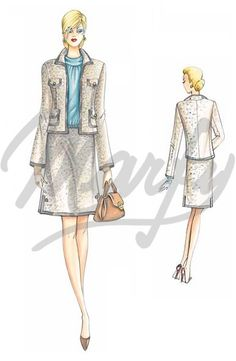 Free Marfy print at home sewing pattern! Above the knee flared skirt Marfy Patterns, Skirt Patterns Sewing, Vintage Dress Patterns, Sewing Patterns Free, Clothing Patterns, Free Sewing, Chanel Style Jacket, Boucle Jacket, Fashion Figures