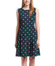 Look at this #zulilyfind! Navy & Green Polka Dot Fit & Flare Dress #zulilyfinds